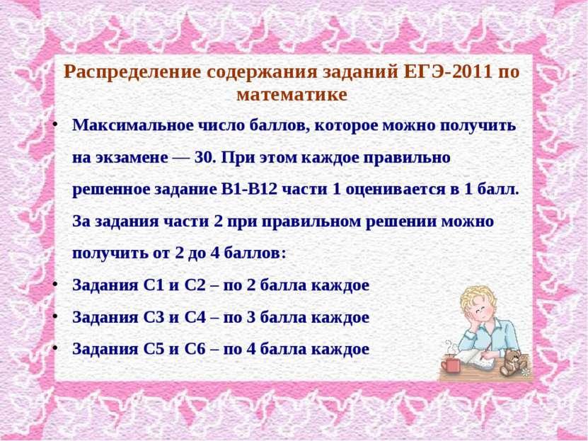 Распределение содержания заданий ЕГЭ-2011 по математике Максимальное число ба...