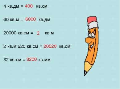 400 4 кв.дм = кв.см 60 кв.м = кв.дм 20000 кв.см = кв.м 2 кв.м 520 кв.см = кв....