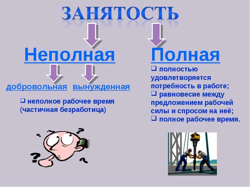 Полная полностью удовлетворяется потребность в работе; равновесие между предл...