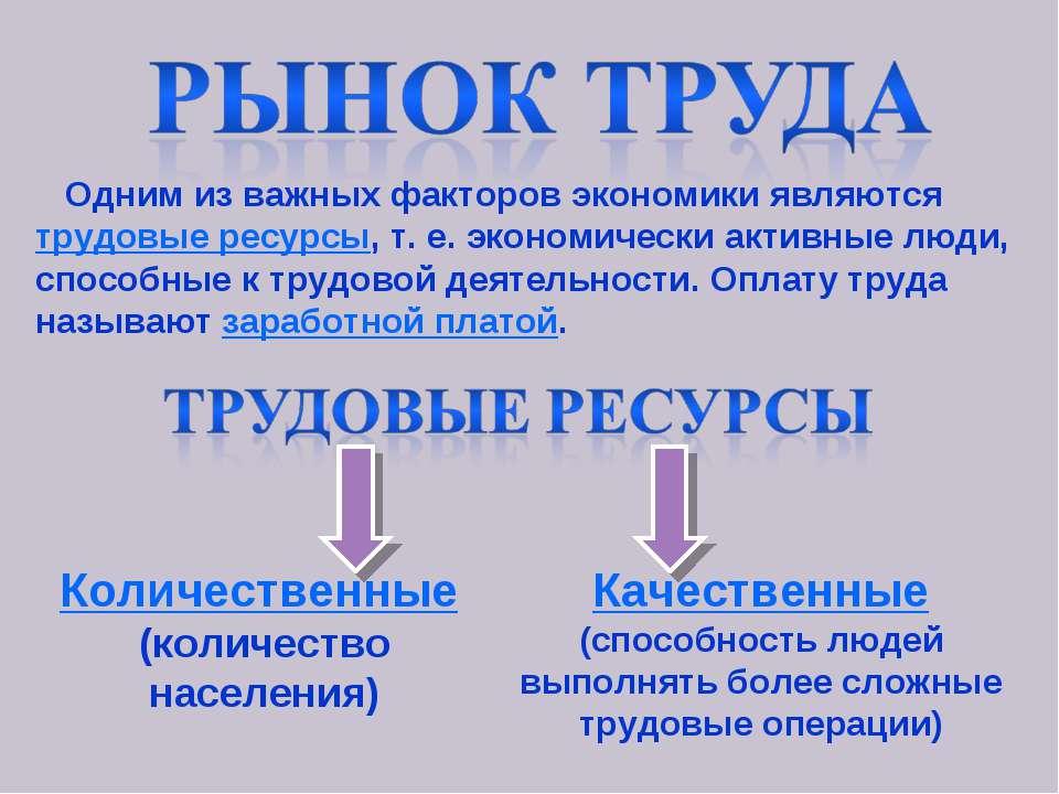 Одним из важных факторов экономики являются трудовые ресурсы, т. е. экономиче...