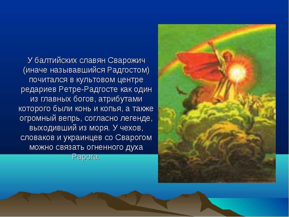 У балтийских славян Сварожич (иначе называвшийся Радгостом) почитался в культ...