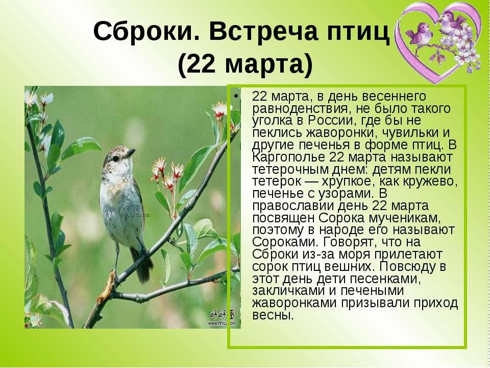 Сброки. Встреча птиц (22 марта) 22 марта, в день весеннего равноденствия, не ...