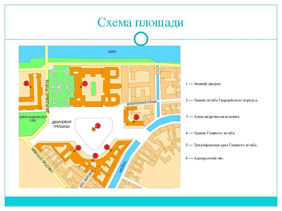 Схема площади 1— Зимний дворец. 2— Здание штаба Гвардейского корпуса. 3— А...