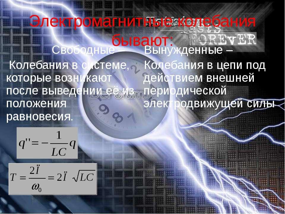 Электромагнитные колебания бывают: Свободные – Колебания в системе, которые в...