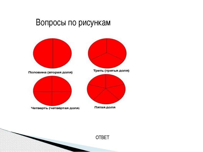 1.На сколько частей разделен круг? 2.Какие это части? 3. Что показывает одна ...