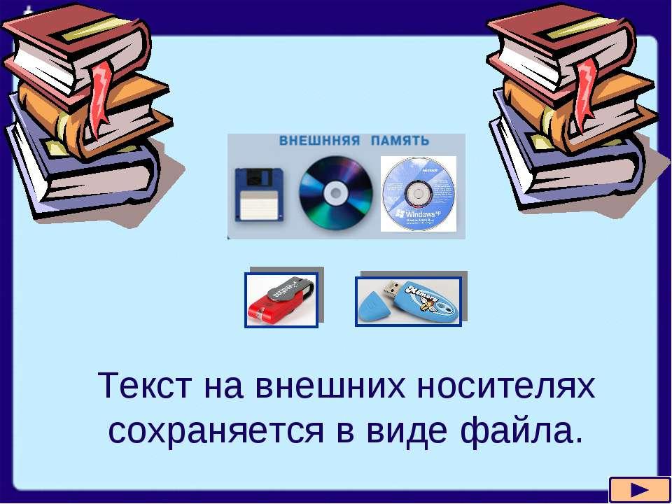 Текст на внешних носителях сохраняется в виде файла.