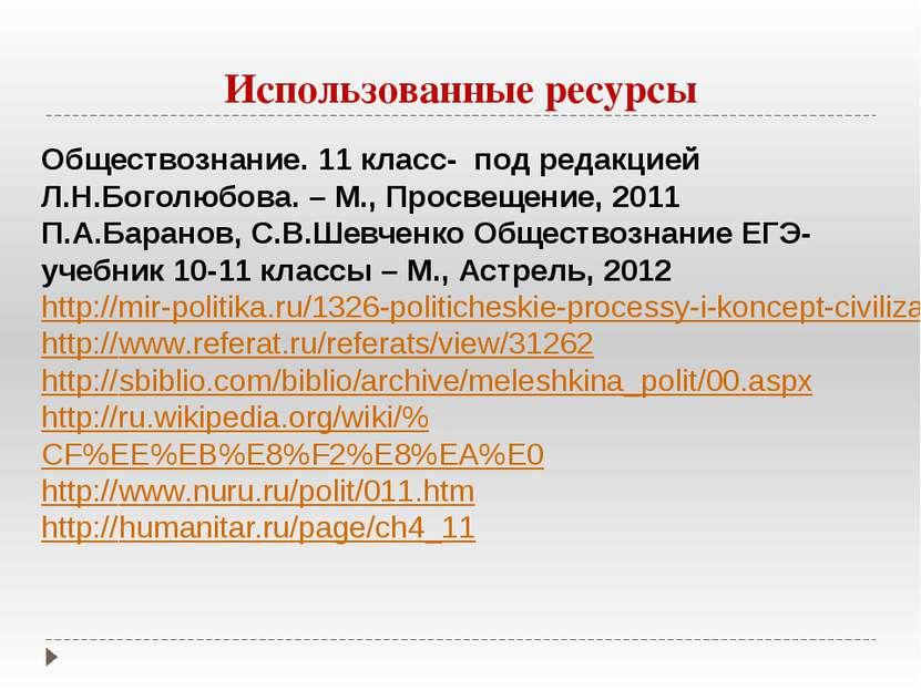 Использованные ресурсы Обществознание. 11 класс- под редакцией Л.Н.Боголюбова...