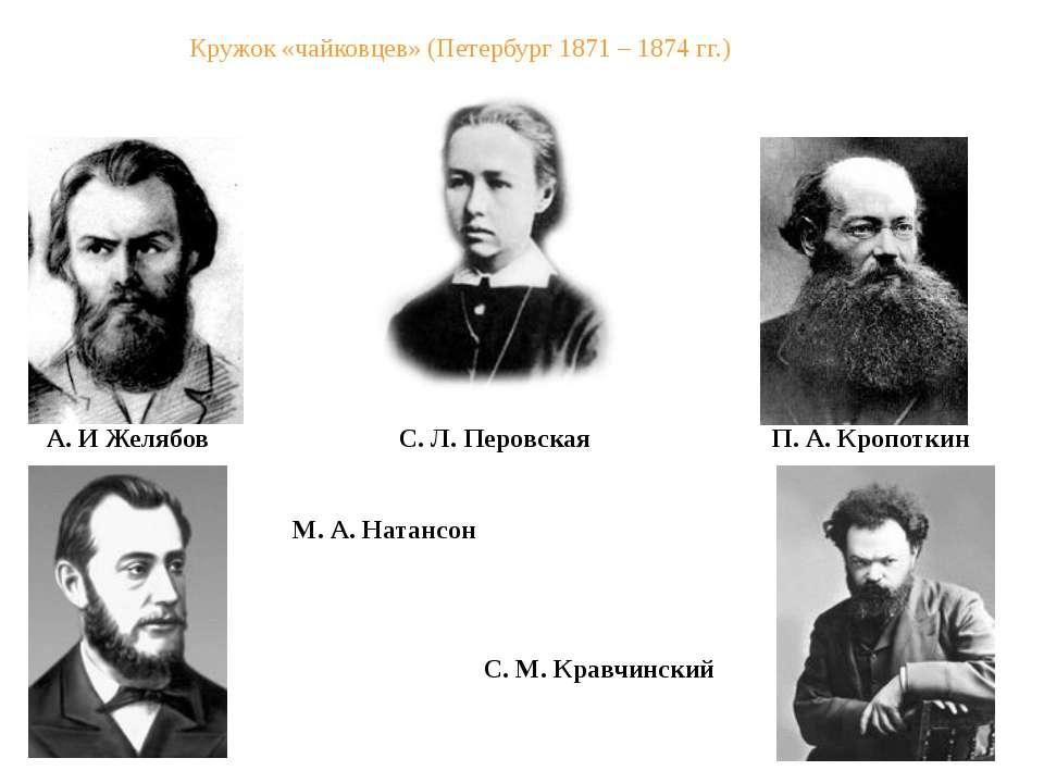 Кружок «чайковцев» (Петербург 1871 – 1874 гг.) А. И Желябов П. А. Кропоткин С...