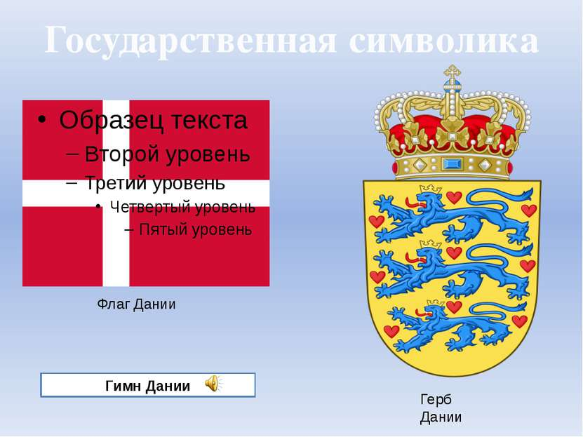 Государственная символика Герб Дании Флаг Дании Гимн Дании