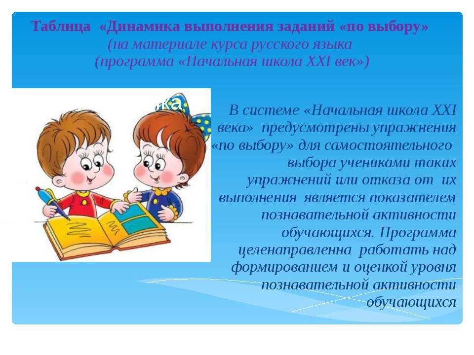 Таблица «Динамика выполнения заданий «по выбору» (на материале курса русского...