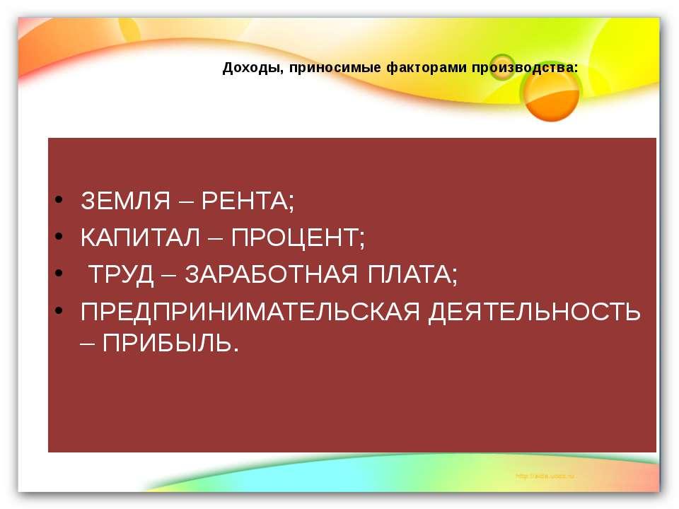 Доходы, приносимые факторами производства: ЗЕМЛЯ – РЕНТА; КАПИТАЛ – ПРОЦЕНТ; ...