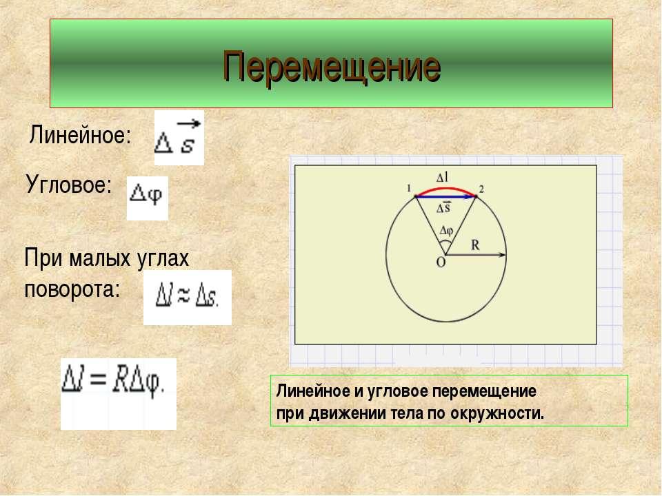 Перемещение Линейное: Угловое: При малых углах поворота: Линейное и угловое п...