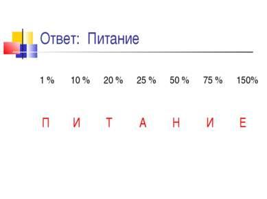 Ответ: Питание 1 % 10 % 20 % 25 % 50 % 75 % 150% П И Т А Н И Е