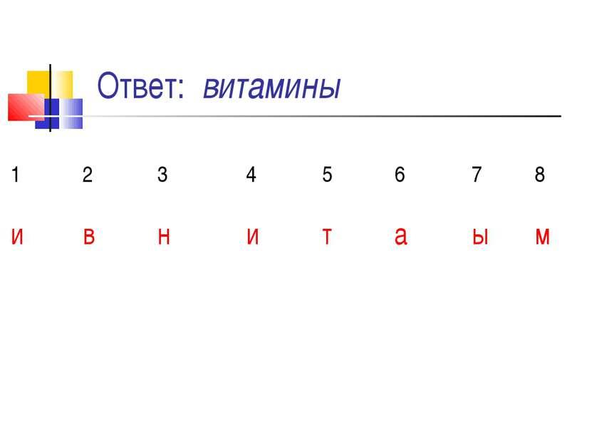 Ответ: витамины 1 2 3 4 5 6 7 8 и в н и т а ы м