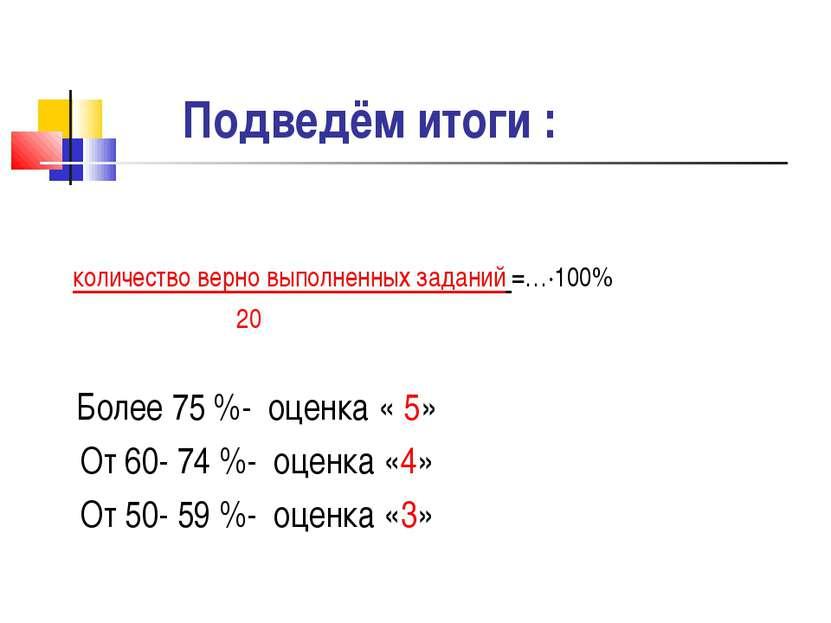 Подведём итоги : количество верно выполненных заданий =…∙100% 20 Более 75 %- ...