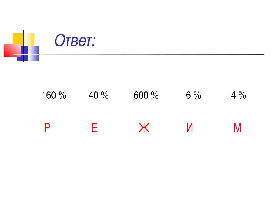 Ответ: 160 % 40 % 600 % 6 % 4 % Р Е Ж И М
