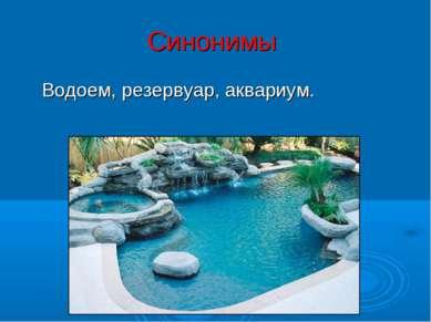 Синонимы Водоем, резервуар, аквариум.