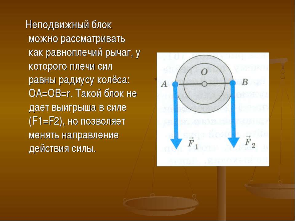 Неподвижный блок можно рассматривать как равноплечий рычаг, у которого плечи ...