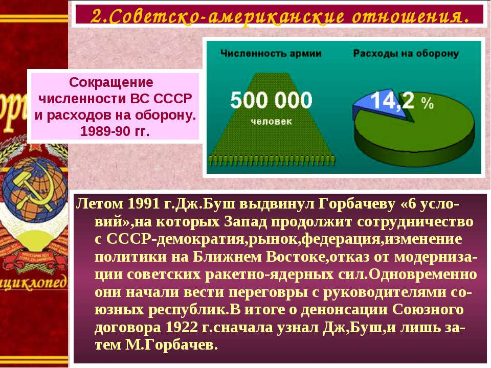 Летом 1991 г.Дж.Буш выдвинул Горбачеву «6 усло-вий»,на которых Запад продолжи...