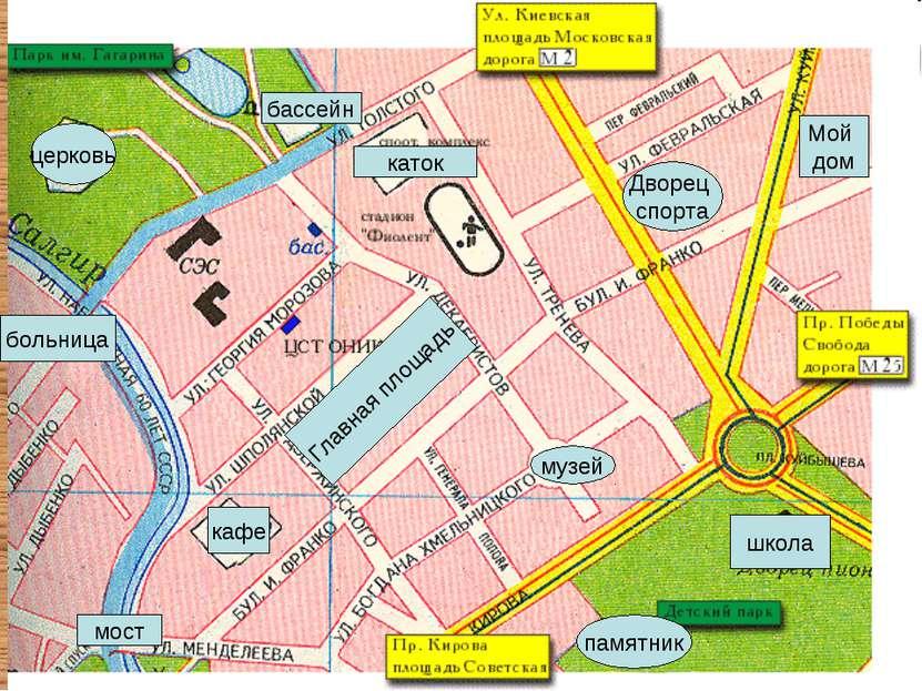 кафе школа церковь Мой дом больница каток музей бассейн Главная площадь Дворе...