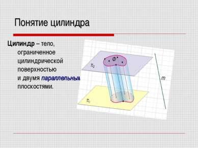 Понятие цилиндра Цилиндр – тело, ограниченное цилиндрической поверхностью и д...