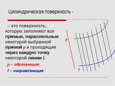 Цилиндрическая поверхность - – это поверхность, которую заполняют все прямые,...