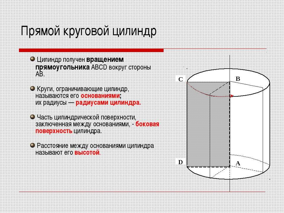 Прямой круговой цилиндр Цилиндр получен вращением прямоугольника ABCD вокруг ...