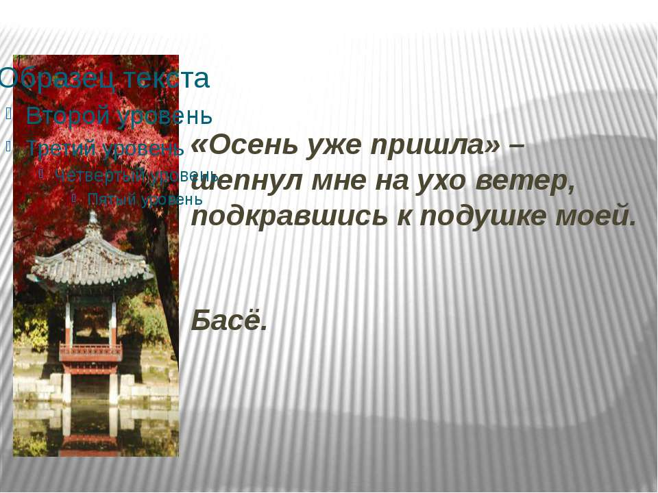 «Осень уже пришла» – шепнул мне на ухо ветер, подкравшись к подушке моей. Басё.