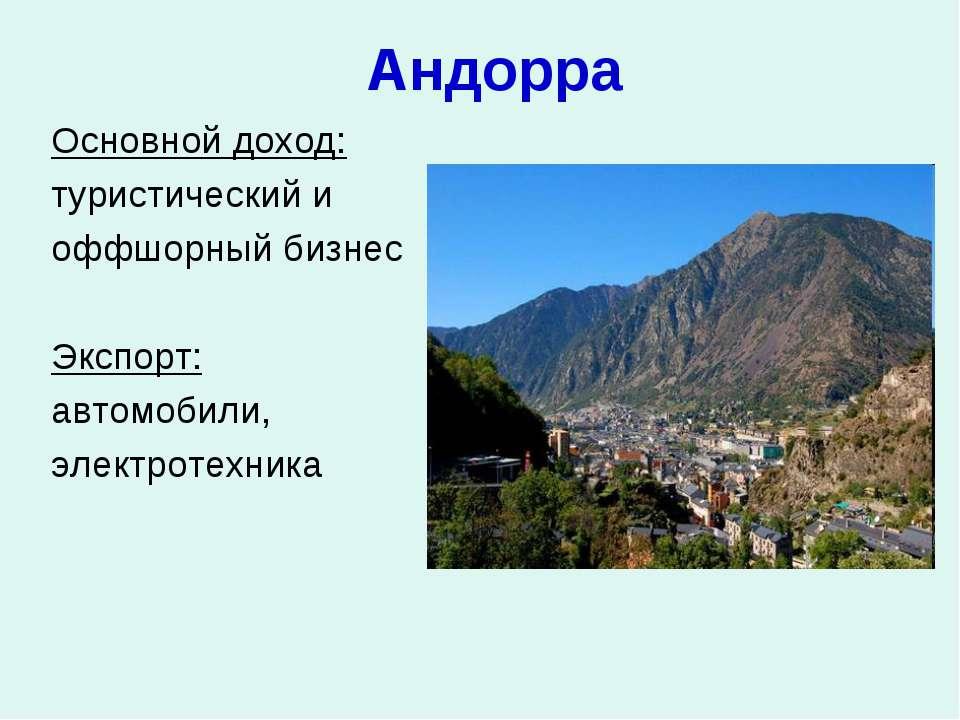 Андорра Основной доход: туристический и оффшорный бизнес Экспорт: автомобили,...