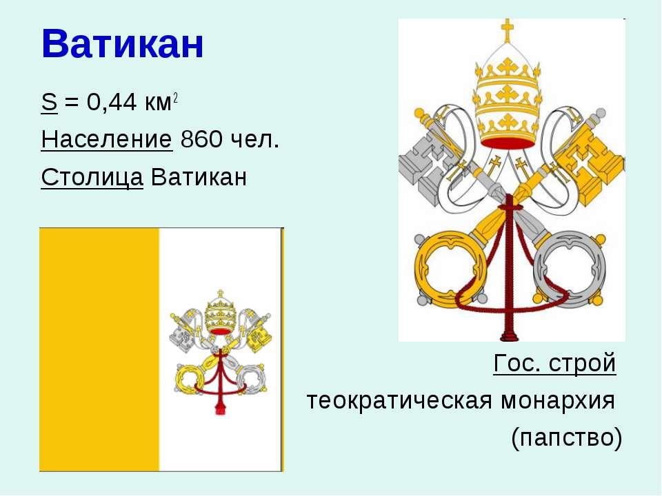 Ватикан S = 0,44 км2 Население 860 чел. Столица Ватикан Гос. строй теократиче...