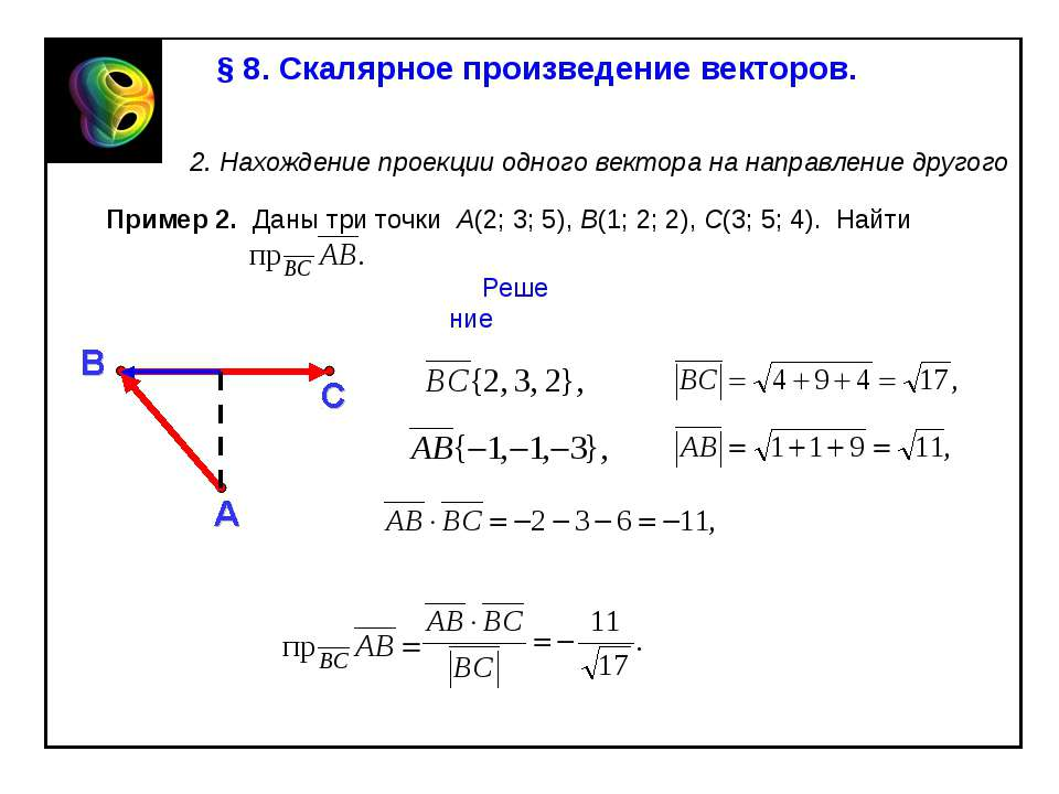 § 8. Скалярное произведение векторов. 2. Нахождение проекции одного вектора н...
