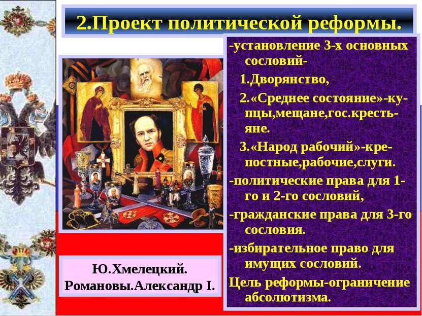 Получив задание составить проект реформ,Сперанс-кий подготовил его в к. 1809 ...