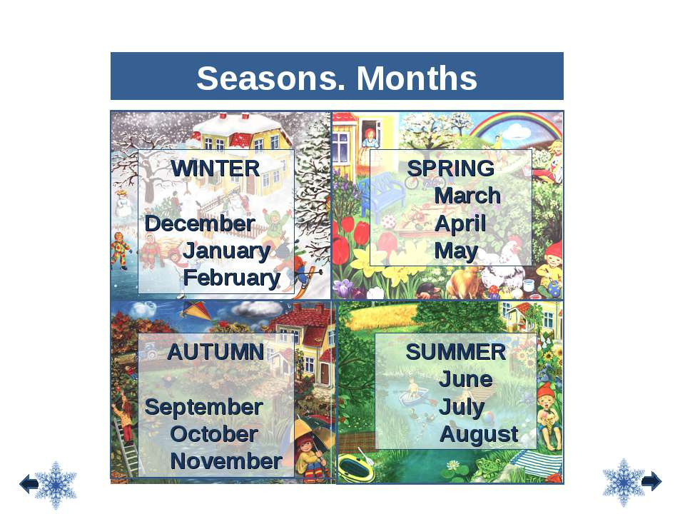 WINTER December January February SPRING March April May SUMMER June July Augu...