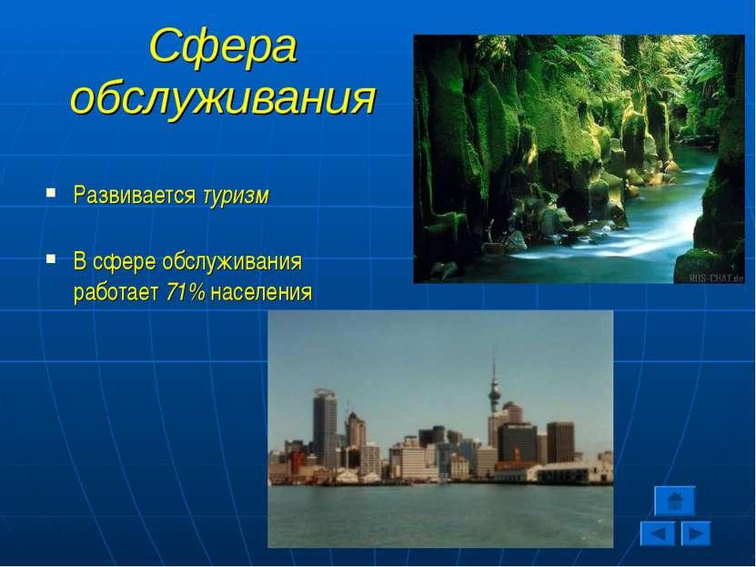 Сфера обслуживания Развивается туризм В сфере обслуживания работает 71% насел...