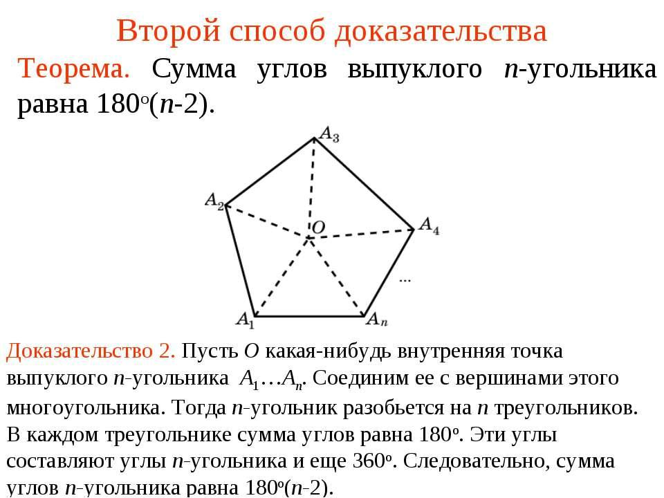 Второй способ доказательства Теорема. Сумма углов выпуклого n-угольника равна...
