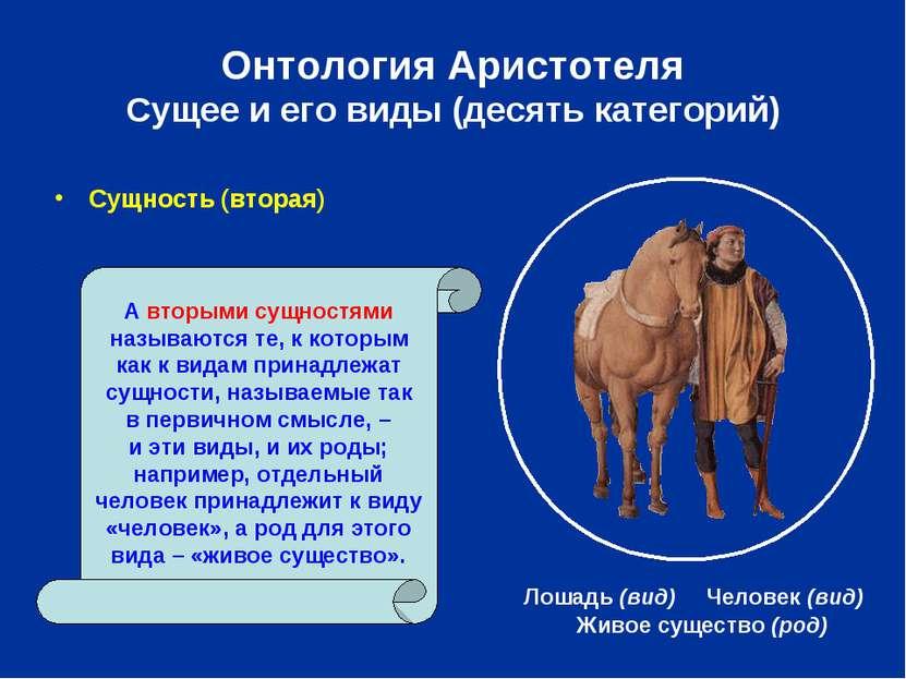 Онтология Аристотеля Сущее и его виды (десять категорий) Сущность (вторая) Жи...