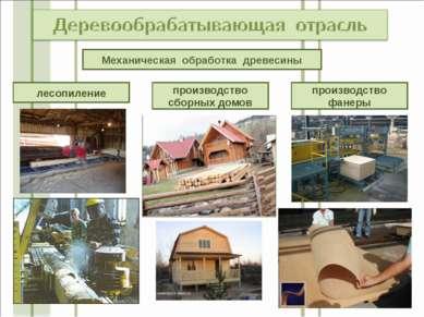 Механическая обработка древесины лесопиление производство сборных домов произ...