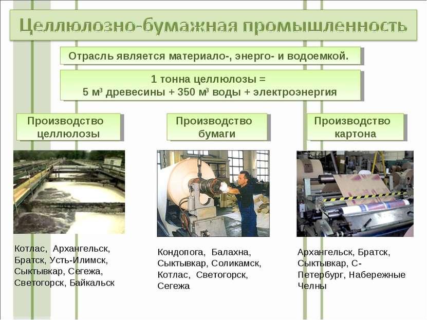 Отрасль является материало-, энерго- и водоемкой. 1 тонна целлюлозы = 5 м3 др...