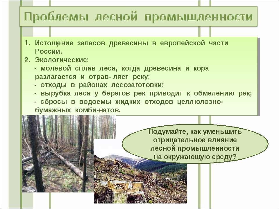 Истощение запасов древесины в европейской части России. Экологические: - моле...