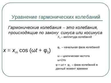 Уравнение гармонических колебаний Гармонические колебания – это колебания, пр...