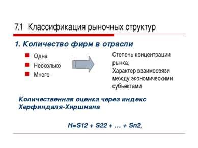 7.1 Классификация рыночных структур 1. Количество фирм в отрасли Одна Несколь...