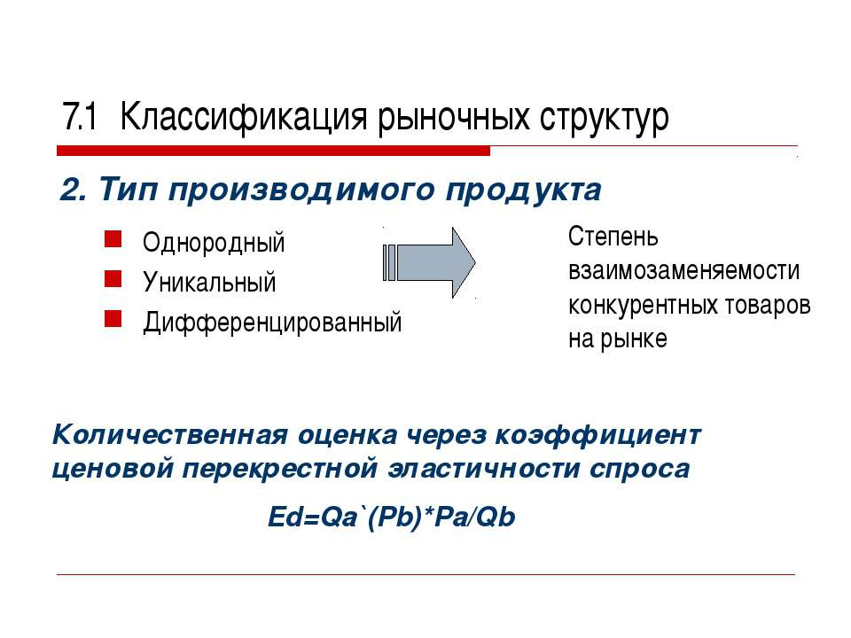 7.1 Классификация рыночных структур 2. Тип производимого продукта Однородный ...