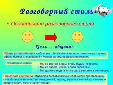 Агафонова Е.Е. Разговорный стиль Особенности разговорного стиля Цель - общени...
