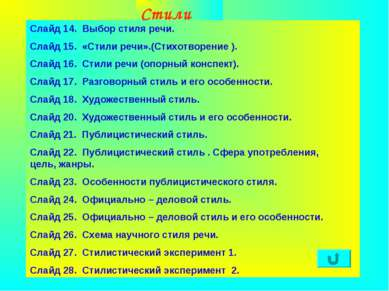 Агафонова Е.Е. Стили речи Слайд 14. Выбор стиля речи. Слайд 15. «Стили речи»....
