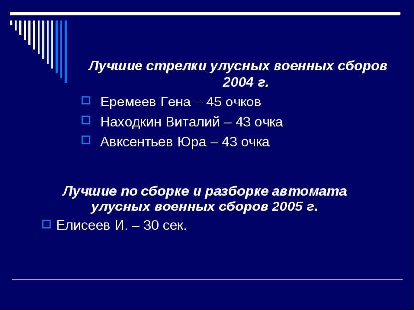Лучшие по сборке и разборке автомата улусных военных сборов 2005 г. Елисеев И...