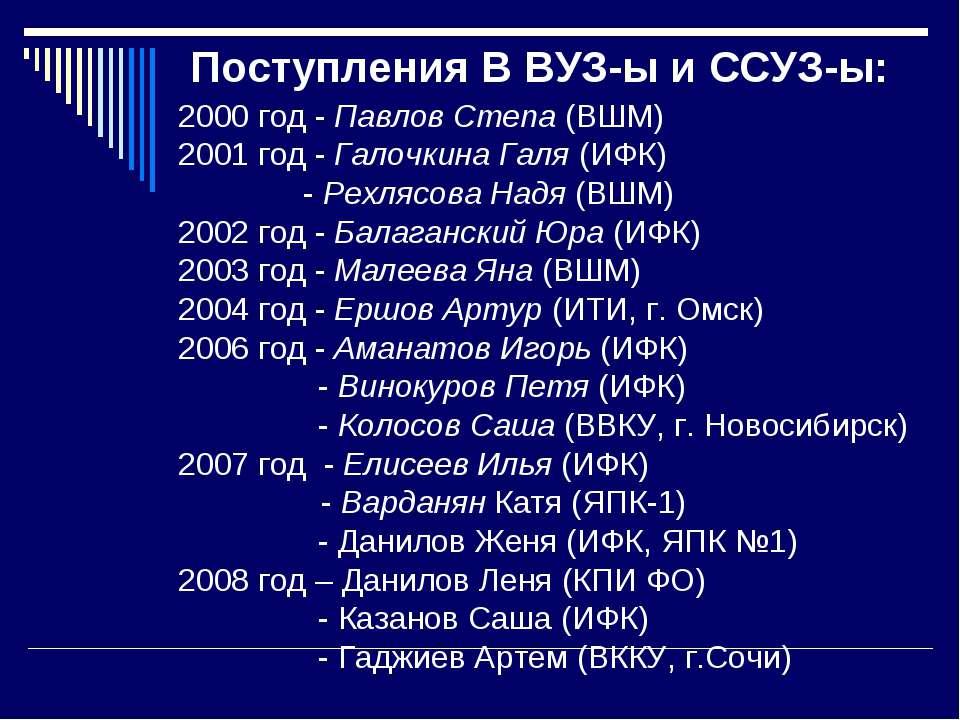 Поступления В ВУЗ-ы и ССУЗ-ы: 2000 год - Павлов Степа (ВШМ) 2001 год - Галочк...