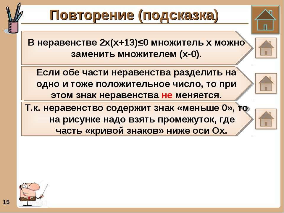 Повторение (подсказка) * В неравенстве 2х(х+13)≤0 множитель х можно заменить ...