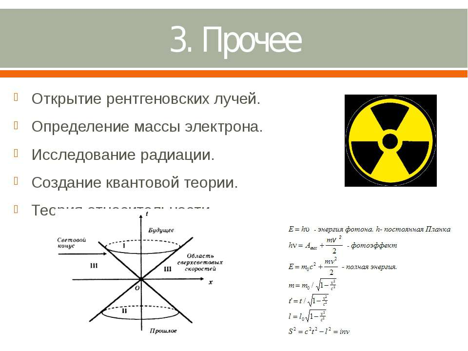 3. Прочее Открытие рентгеновских лучей. Определение массы электрона. Исследов...