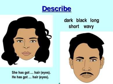 Describe dark black long short wavy She has got … hair (eyes). He has got … h...