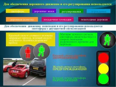 Красный сигнал светофора ЗАПРЕЩАЮЩИЙ Желтый сигнал светофора ПРЕДУПРЕЖДАЮЩИЙ ...